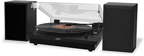 Jensen JTA-315 Dual Bluetooth Turntable (33/45/78 RPM) - 20 Watts (Black)