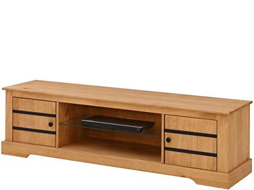 TV-Bank Lowboard 2 Türen Fernsehschrank Fernsehtisch Wohnzimmer Kiefer Massivholz 160 x 40 x 45 cm (gebeizt geölt)