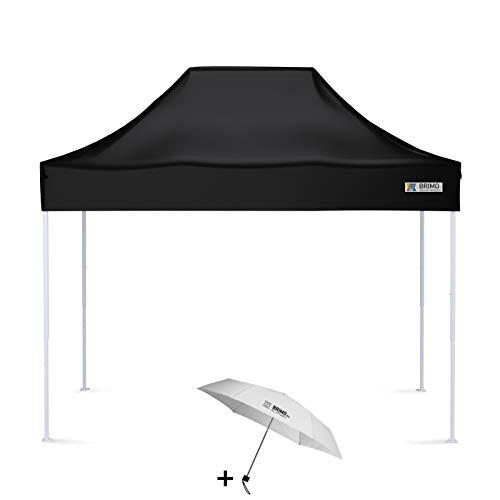 BRIMO Faltpavillon + Freier Regenschirm (2x3m, Schwarz)