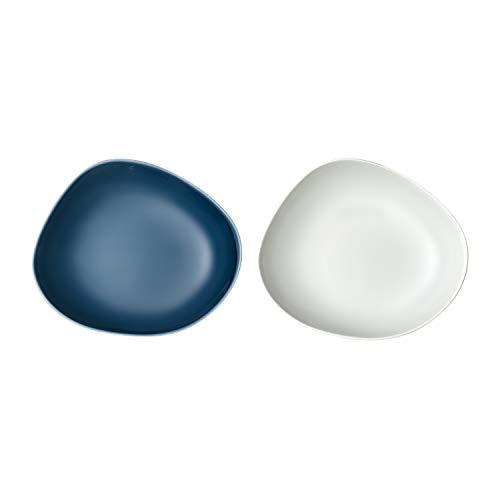 Villeroy & Boch Group – Organic set piatto fondo 2 pz., set di piatti fondi in porcellana dura per 2 persone, turchese, bianco, lavabile in lavastoviglie