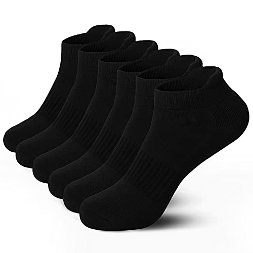 Airacker Ankle Athletic Running Socks Cushioned Breathable Low Cut Sports Tab Socks for Men and Women (6 Pairs) (Pure Black, Shoe Size: 6-9, numeric_6)