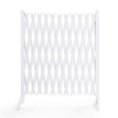 IDMarket - Barrière Extensible Blanche Treillis PVC 35 à 250 CM