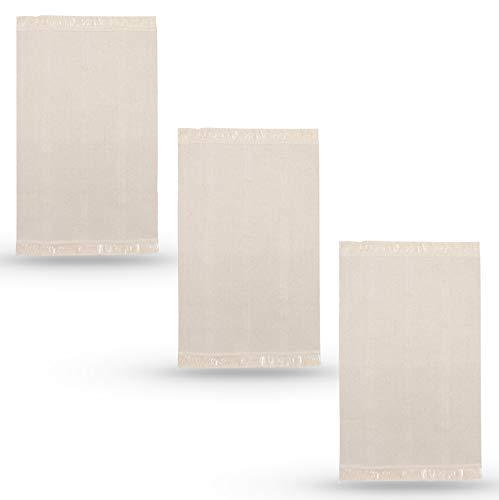 Lidoma Ikea Sortsö Lot de 3 tapis 55 x 85 cm en coton naturel blanc crème beige non blanchi