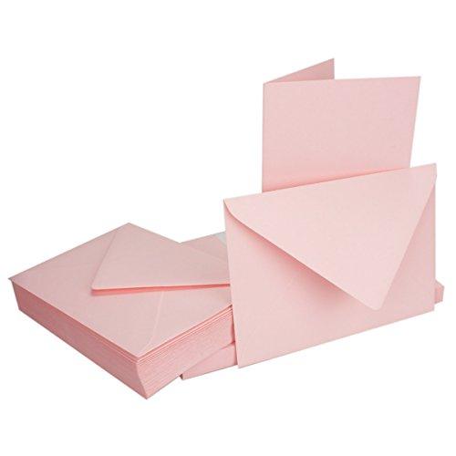 Juego de tarjetas plegables con sobres DIN B6, 115x 170mm, ideales para tarjetas de invitación, bodas, bautizo, comunión o confirmación, estables, aptas para impresoras, color 16-Rosa 10 Sets