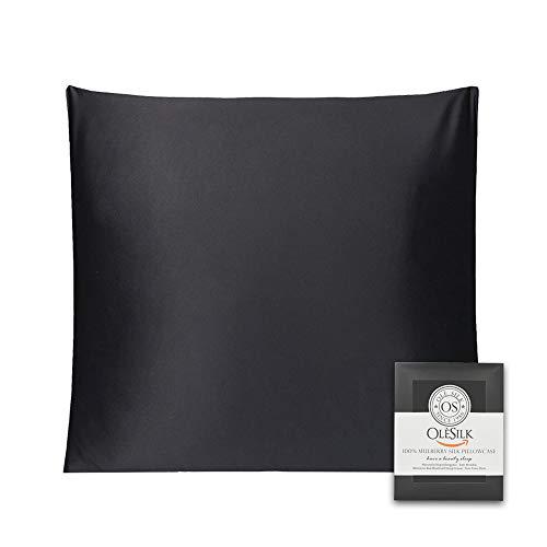 OLESILK Taie d'oreiller en Soie Naturelle de mûrier 16 Mommes: Prend Soin de Votre Peau et Moins de Perte de Cheveux - Noire, 65x65cm