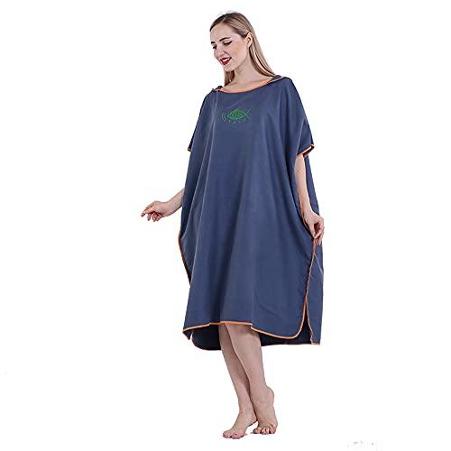 Ajing Toalla de baño de microfibra de secado rápido, ligera, poncho con capucha, para cambiar, también como toalla de playa, para surf, natación y playa, para hombres, mujeres y adultos