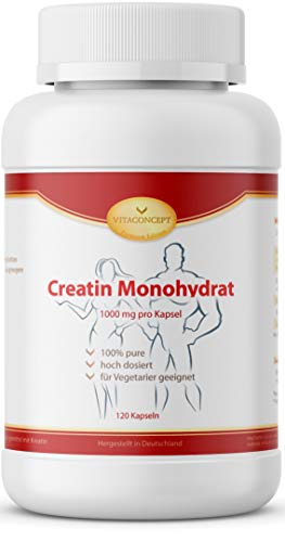 Creatin Monohydrat HOCHDOSIERT - 1000 mg pro Kapsel - 120 Kapseln - Kreatin Made in Germany by VITACONCEPT