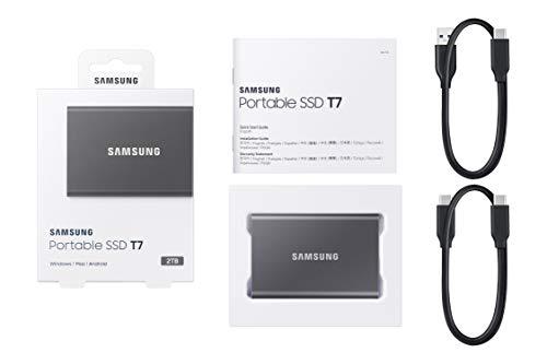 Samsung T7 Portable SSD - 2 TB - USB 3.2 Gen.2 Externe SSD Titan Gray (MU-PC2T0T/WW)