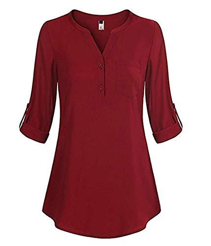 ELFIN Damen Große Größen Freizeit Lange Ärmel V-Ausschnitt Chiffon Bluse Locker Shirt Elegante Frauen Tunika Tops Oberteile (Bordeaus, S)