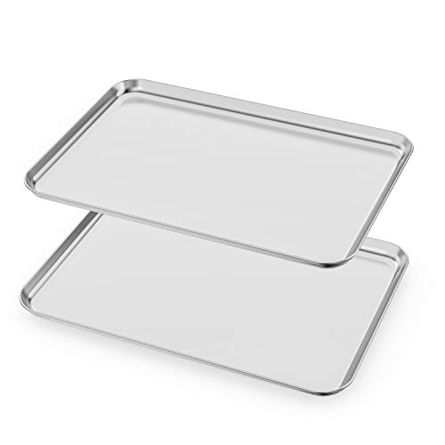 Baking Sheets Set of 2 HKJ Chef Cookie Sheets 2 Pieces amp Stainless Steel Baking Pans amp Toaster Oven Tray Pans Rectangle Size 20L x 14W x 1H inch amp Non Toxic amp Healthy amp Easy Clean
