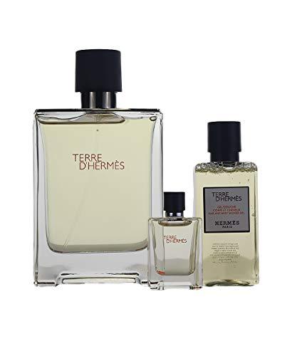 HERMES Terre D' 3 Pc. Gift Set for Men S/g 1.35 Oz + Edt 3.4 Oz + Edt 0.17 Oz, 3.4 Fl Oz