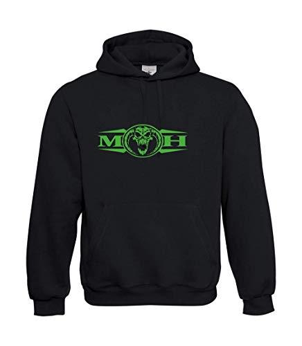 Pull à capuche en textile vert fluo avec motifs « Masters of Hardcore Gabber » - Noir - Large