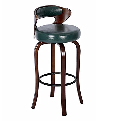Sgabelli da bar Stile retrò Sgabelli Marrone Brown Sedie per La Casa Cafe Breakfast High Sgabelli, con Schienale, Cuscino Morbido e Poggiapiedi Metallo Nero(Size:60 cm,Color:Verde)