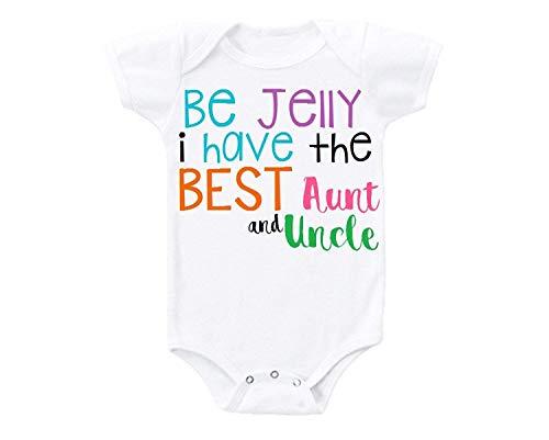 """qidushop Baby-Body für Neugeborene mit Aufschrift """"Be Jelly Best Aunt and Oncle"""" Gr. 74, weiß"""
