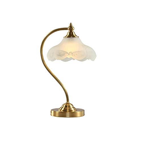 Tafellamp volledig koperen tafellamp, Alle Copper Lamp Body Glass Lampekap, bediening van knoppen Lamp Geschikt for Bookshelf, woonkamer, slaapkamer kaptafel