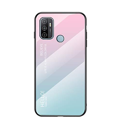 GOGME Hülle für Oppo A53 / A53s Hülle, Farbverlauf-Glas Back Cover Handyhülle, Ultra Thin Tasche Cover TPU Silikon Grenze Shock Absorption Stoßfest Hülle Schutzhülle(Pink Blau)