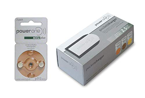 Powerone ACCU Plus Rechargeable Hearing Aid Batteries + Charger Bundle (Size 312 + Charger)
