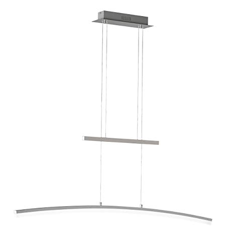 ACTION by WOFI 723001646000 A Pendelleuchte, Metall, 28 W, Integriert, nickel matt, 110 x 8 x 150 cm