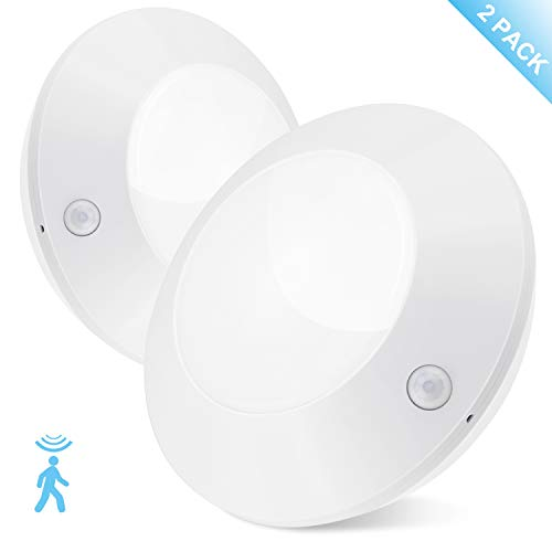 BIGLIGHT Wireless Battery Operated LED Motion Sensor Ceiling Light, Cordless Bright Motion Lights for Hallway Shower Closet Pantry Entrance Corridor Shed, 5 Inches, 250 Lumens, Warm White, 2 Pack