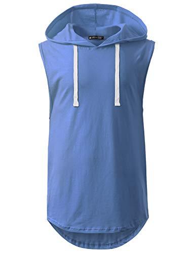 URBANCREWS Mens Hipster Hip Hop Basic Longline Hooded Muscle Tank Top Blue, 2XL