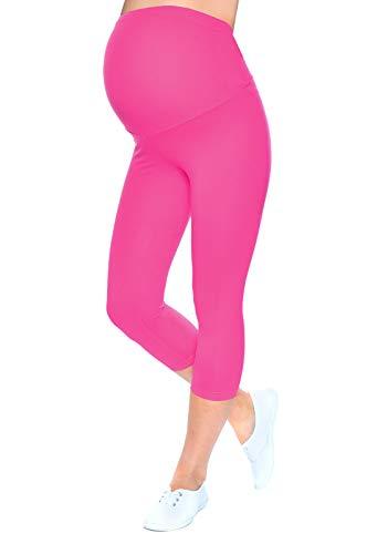 Mija - Qualität Komfortable Umstandsleggings für Schwangere Capri 3/4 Leggings 1041 (M/L, Rosa)