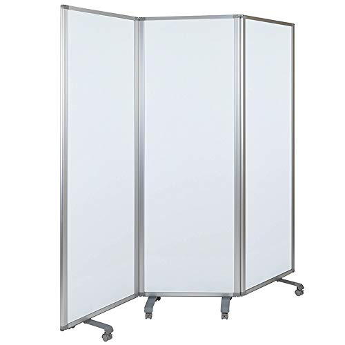 Offex Modern Double Sided Mobile Magnetic Dry Erase Whiteboard Partition Privacy Screen with Dual-Wheel Locking Casters, 72'H x 24'W - White/Gray, Perfect for Office, Classroom or Learning Environment