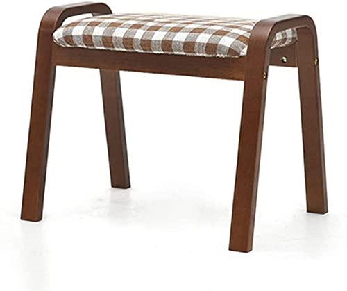 JYHS Taburete pequeño de tela de lino para maquillaje, reposapiés otomano, moderno y rectangular con asiento de sofá, patas de madera (color marrón y marrón) cómodo (color: marrón)