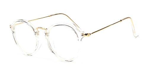 BOZEVON Lentes Claro Anteojos Transparentes - Redondo Ultrafino Marco de Metal Gafas de Lectura Decoración Retro Gafas Para Hombres Mujeres Transparente (Cateye)