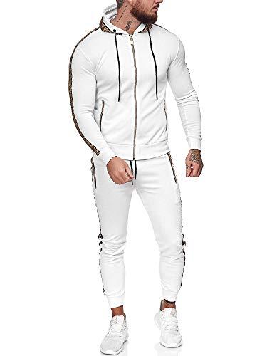 OneRedox | Herren Trainingsanzug | Jogginganzug | Sportanzug | Jogging Anzug | Hoodie-Sporthose | Jogging-Anzug | Trainings-Anzug | Jogging-Hose | Modell JG-1424 Weiss L