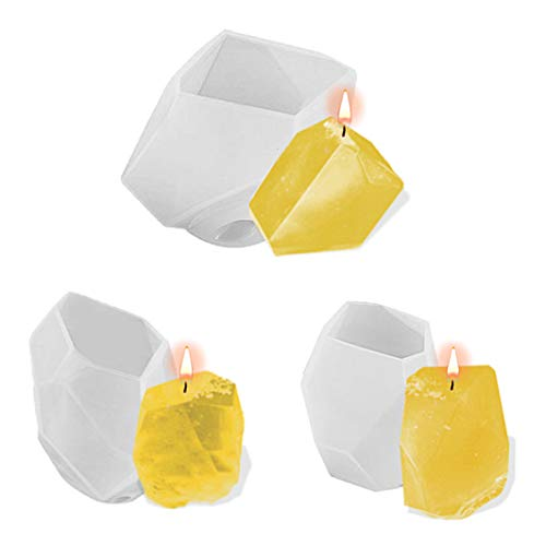 3PCS Multi-Faceted Gem Stone Mould, Crystal Mold Silicone Candle Molds Resin Epoxy Mold for Jewelry, Soap, Soy Wax Making DIY Craft