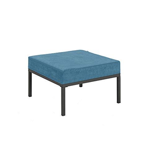 Mingone Kostenlose Kombination Möbelset Sessel Ecksofa mit Ottomane Leinensofa DIY Design Sofakombination (Fußstütze, Blau)