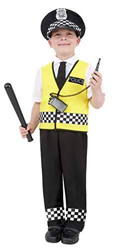 Smiffy'S 38661S Disfraz De Chico Policía Con Top, Pantalones, Sombrero Y Set De Radio, Negro, S - Edad 4-6 Años