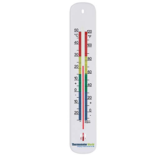 Wall Thermometer 215mm - Colour Coded Room Thermometer - Made in UK for Home Office, Garden or Greenhouse Indoor and Outdoor Temperature Thermometer Wall Mounted