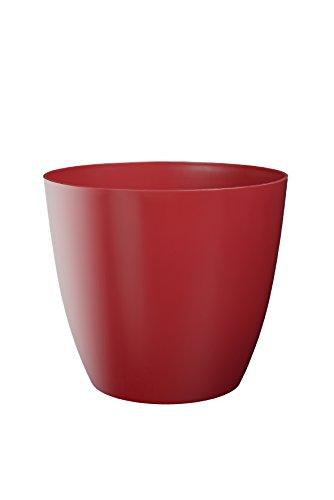 Plastkon Décoration Pot Decorative Flower Pot Ella Brillant Diamètre 11 cm, Rouge