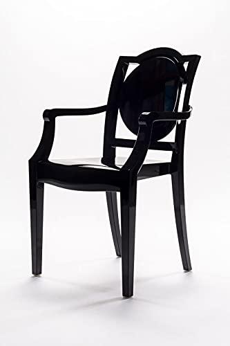 LA16 GHOST - Silla de colores con reposabrazos de policarbonato - Juego de 10 sillones - Negro - 30LA100