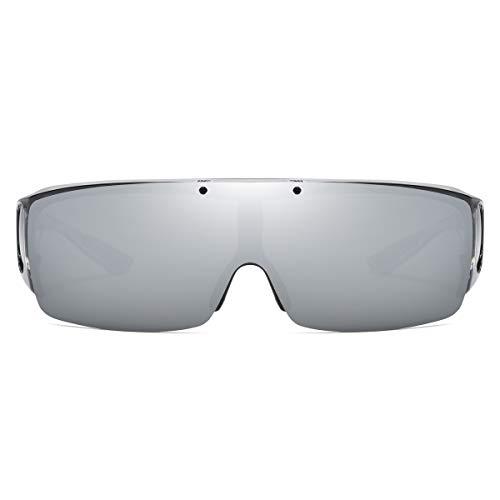 跳ね上げ式 サングラス メガネの上から偏光サングラス UV400 紫外線 99.9%カット 花粉サングラス T002 (グレー| シルバーミラーレンズ)