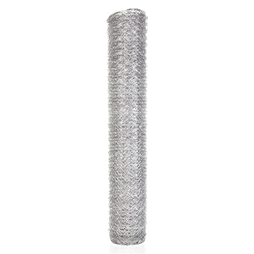 TINVHY Galvanized Hexagonal Wire Poultry Netting Mesh for Craft Projects and Gardening Metal Mesh Fencing / Chicken Wire (48 Inch x 150FT x 2 Inch )