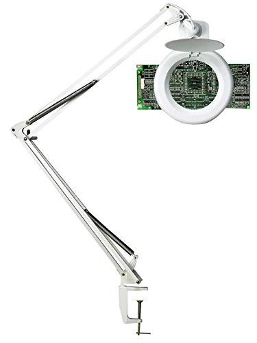 UNILUX 400108073 Zoom LED wit daglicht loep lamp voor hobby en beroep loep lamp met tafelklem met 3 dioptrieën in 10,5 cm grote loep lens [energieklasse A ]