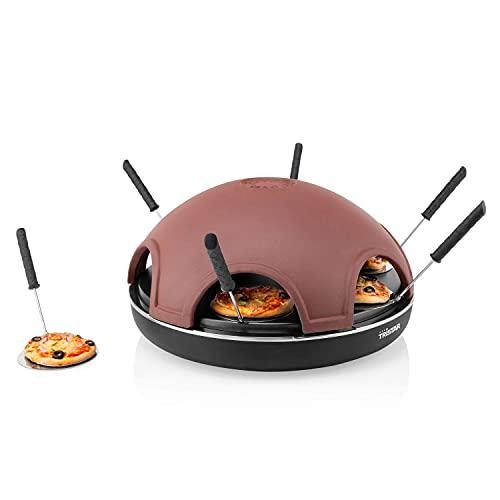 Tristar Pizza Festa 6, handgemachte Terracotta Kuppel, 1200 Watt Leistung, 37 cm ø, inklusive Teigschneider und 6 Mini-Pizza Pfännchen, Kabellänge von 2 Metern, Schwarz