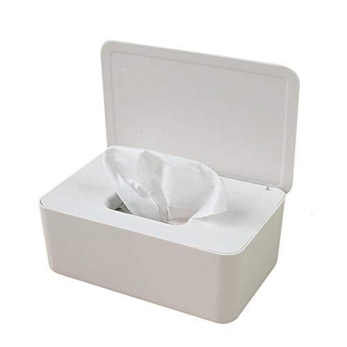 Color sólido de plástico Caja sellada Tejido húmedo/Caja de Tejido húmedo a Prueba de Polvo/bebé sellada/Caja de pañuelos for la decoración de la Oficina en casa (Color : White)