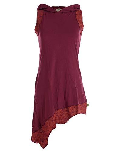 Vishes - Alternative Bekleidung - Asymmetrisches Damen Elfenkleid Baumwolle mit Zipfelkapuze Dunkelrot 38-40