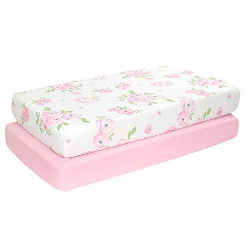 """TILLYOU 2-Pack Snug Fit Microfiber Fitted Crib Sheet Set for Baby Boys Girls, Silky-Soft and Breathable Mattress Cover Anti-Pill for Standard Toddler Bed, 28""""x52""""x8"""", Pink Rose Flowers"""