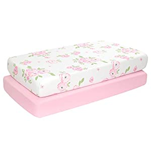 crib bedding and baby bedding tillyou microfiber floral crib sheets for girls, silky soft toddler sheets printed, breathable cozy baby sheet set, 28 x 52in, 2 pack rose floral + pink
