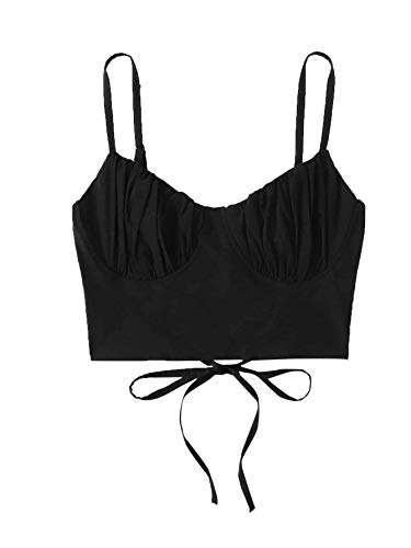 Romwe Women's Casual V Neck Sleeveless Lace Up Back Crop Cami Top Camisole Black L