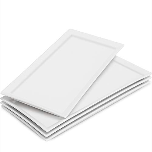 amHomel 4-Pack Porcelain Platter Plates Serving Trays for Parties, Natural White 12.2 Inch