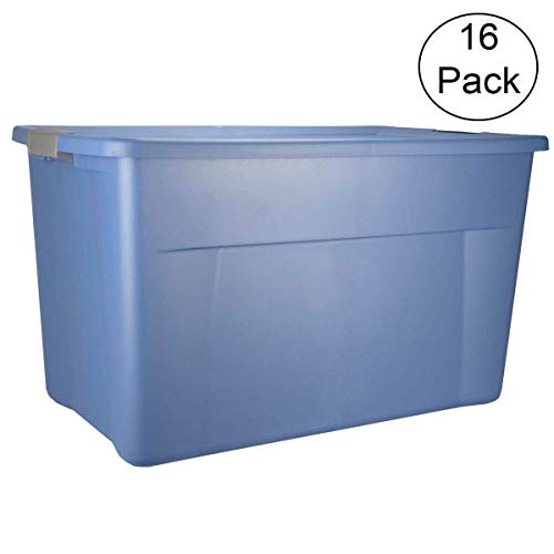 Sterilite 19451006 35 Gallon Storage Tote Box w/Latching Lid, Blue (16 Pack)