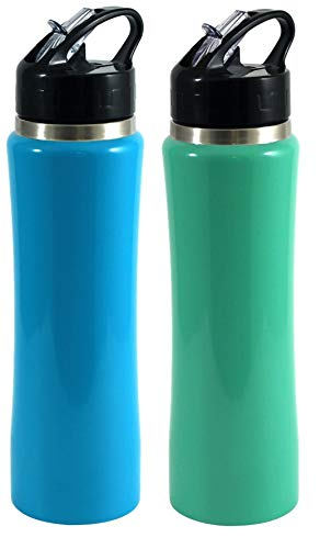 Green Canteen Vacuum Double Wall Stainless Steel Thermal Water Bottle-2 Pack, 25oz, Light Blue and SeaFoam Green