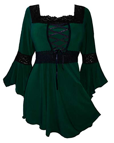Dare to Wear Renaissance Corset Top: Victorian Gothic Boho Women's Plus Size Peasant Festival Fair Cosplay Lace Blouse, Envy 1x