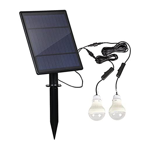 Porcyco Cadena de luces LED solar para exteriores, con 2 bombillas, resistente al agua IP65, iluminación de jardín, iluminación para interior y exterior, fiesta, Navidad (blanco)