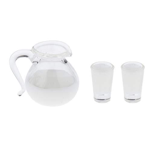 Toygogo Minipuppe Wasserkaraffe Set3-teilig Wassergläser Miniatur Küche Deko für 1:12 Puppenhaus Zubehör - Milch